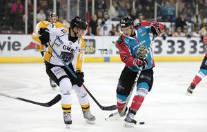 Belfast Giants' Michael Forney with Nottingham Panthers' Sertich during Fridays Elite Hockey League game at the SSE Arena, Belfast. 20  January 2017 - Picture by Darren Kidd / Press Eye.