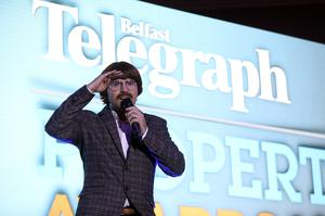 Paddy Raff AKA Nigel entertained guests at the 2019 Belfast Telegraph Property Awards 15 November, Crowne Plaza