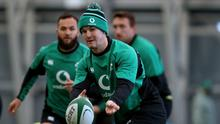 Johnny Sexton in action at Ireland's training base.