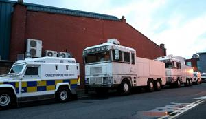 Police water canon on stand by at the Grosevnor Road police station in Belfast, Northern Ireland as 12th of July celebrations get under way across Northern Ireland. Kevin Scott/Presseye.