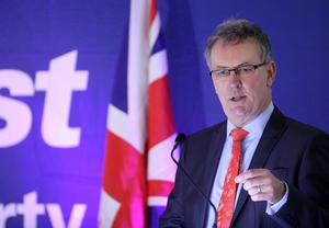 Ulster Unionist Party Spring Conference at the Dunadry Hotel Antrim   Party leader Mike Nesbitt makes his speech.  Picture by Kelvin Boyes  / Press Eye.