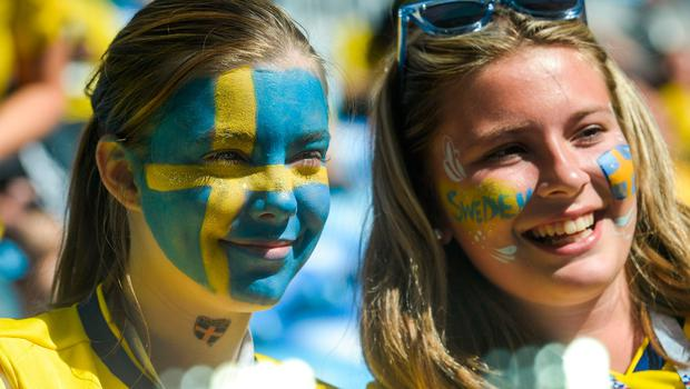 Sweden fans wait for the start of the Russia 2018 World Cup round of 16 football match between Sweden and Switzerland at the Saint Petersburg Stadium in Saint Petersburg on July 3, 2018.