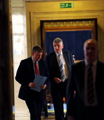 Scenes from Health Minister Jim Wells' day at Stormont yesterday following his shock resignation announcement on Sunday night