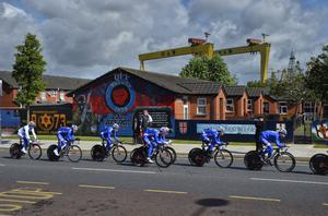 Day one of the 2014 Giro d'Italia Belfast - Team Time Trial over 21.7KM, starting at Titanic Quarter and Finishing at Belfast City Hall