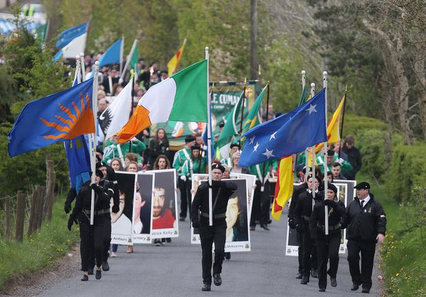 Sinn Fein leader for Northern Ireland Michelle O'Neill addresses a memorial event in Cappagh, Co Tyrone, commemorating the 30th anniversary of the shooting dead of eight IRA members