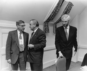 File Pics Albert Reynolds Has Died. Taoiseach and Fianna Fail leader Albert Reynolds talks with Brian Farrell from RTE(L) and Michael Collins from Foreign Affairs during a press briefing in Balmoral Hotel in Edinburgh during the EU Summit. 12/12/1992 Pic Photocall Ireland