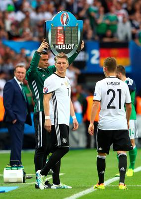 FILE - JUNE 21, 2016: Bastian Schweinsteiger makes record 15th appearance for Germany at Euro finals on June 16, 2016 PARIS, FRANCE - JUNE 21: Bastian Schweinsteiger (3rd L) of Germany stands at the touch line for a substitution during the UEFA EURO 2016 Group C match between Northern Ireland and Germany at Parc des Princes on June 21, 2016 in Paris, France.  (Photo by Alexander Hassenstein/Getty Images)