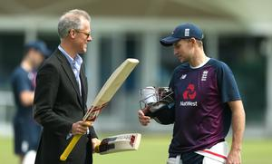 Ed Smith, left, with England captain Joe Root (Steven Paston/PA)