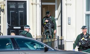 ARV officers force access to a property as they deal with a stabbing incident on the Antrim Road in Belfast on August 4th 2017 (Photo by Kevin Scott / Belfast Telegraph)