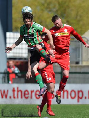 Cliftonville's Garry Breen and Glentoran's Curtis Allen will clash in today's Europa League play-off