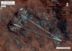 This image released by the US Department of Defense, shows the Shayrat airfield in Syria on October 7, 2016. Pic: Getty Images