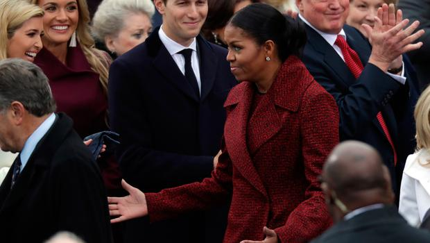 WASHINGTON, DC - JANUARY 20:  (L-R) Ivanka Trump, Vanessa Trump, Jared Kushner and first lady Michelle Obama arrive on the West Front of the U.S. Capitol on January 20, 2017 in Washington, DC. In today's inauguration ceremony Donald J. Trump becomes the 45th president of the United States.  (Photo by Chip Somodevilla/Getty Images)