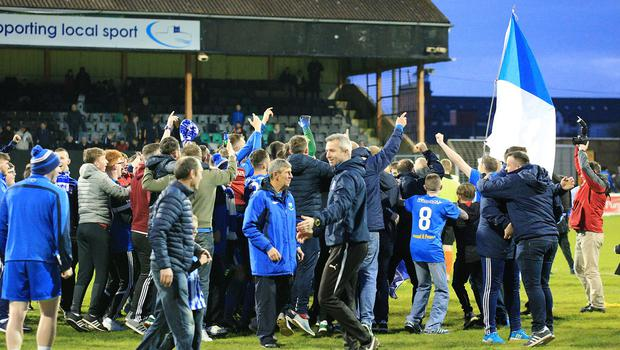 Pacemaker Belfast 9-5-18 Carrick v Newry City - Danske Bank Premiership Promotion/Relegation Playoff Newry City celebrate promotion to the Premier League after defeating Carrick during this evening's game at Taylors Avenue, Carrickfergus.  Photo by David Maginnis/Pacemaker Press