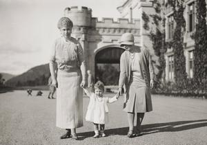 Previously unpublished family photograph issued by the Royal Collection of Queen Elizabeth II with Queen Mary and the Duchess of York at Balmoral in 1927. The pictures are to be seen by the public for the first time to coincide with a book being released this week to mark the birth of Prince George contains new pictures which show the future Queen between the ages of two and four