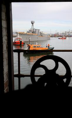 Press Eye - Northern Ireland - 28th October 2016  NO PICTURE FEE  HMS Caroline the 3,700-ton World War One Battle of Jutland veteran light cruiser, was moved from its current location in Alexandra Dock to Harland and Wolff Heavy IndustriesÕ Belfast Dock for a scheduled hull inspection and repair.  This was her first docking for almost three decades and a maritime event to be matched only by her return journey anticipated to be before Christmas.  Photographer - © Matt Mackey / Press Eye