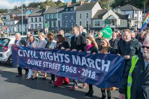 The Civil Rights March marking the 1968 march crosses the Craigavon Bridge following the route the  original marchers hoped to make before being stopped fifty years ago. Picture Martin McKeown. Inpresspics.com. 06.10.18