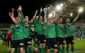 Press Eye - Belfast, Northern Ireland - 31st July 2020 - Photo by William Cherry/Presseye  Glentoran captain Marcus Kane lifts the Sadler's Peaky Blinder Irish Cup after defeating Ballymena United during Friday nights Final at the National Stadium at Windsor Park, Belfast.    Photo by William Cherry/Presseye