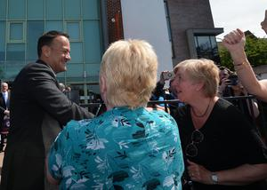 Pacemaker Press 8/6/2018 Taoiseach Leo Varadkar  is welcomed  as he visits the Museum of Orange Heritage in Belfast. It will be the first time an Irish prime minister has been to the headquarters of the Orange Order in Belfast.  Pic Colm Lenaghan /Pacemaker