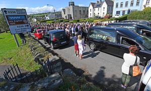 Pacemaker Press 24/8/2020  The Funeral of John, Tomas and Amelia Mullan  at St Pius X Parish Church in Moville on Monday.