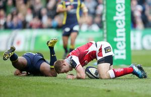 10 December 2016 - Picture by Darren Kidd / Press Eye.    Champions Cup, Ulster v Clermont at the KIngspan Stadium, Belfast.  Ulster's Paddy Jackson taps the ball and goes over for a try