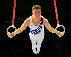 Nile Wilson on the rings during the Artistic Gymnastics British Championships 2016 at the Echo Arena, Liverpool. PRESS ASSOCIATION Photo. Picture date: Sunday April 10, 2016. See PA story GYMNASTICS British. Photo credit should read: Nigel French/PA Wire. RESTRICTIONS: EDITORIAL USE ONLY, NO COMMERCIAL USE WITHOUT PRIOR PERMISSION, PLEASE CONTACT PA IMAGES FOR FURTHER INFO: Tel: +44 (0) 115 8447447.