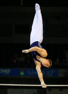 Max Whitlock on the Horizontal (high) bar during the Artistic Gymnastics British Championships 2016 at the Echo Arena, Liverpool. PRESS ASSOCIATION Photo. Picture date: Sunday April 10, 2016. See PA story GYMNASTICS British. Photo credit should read: Nigel French/PA Wire. RESTRICTIONS: EDITORIAL USE ONLY, NO COMMERCIAL USE WITHOUT PRIOR PERMISSION, PLEASE CONTACT PA IMAGES FOR FURTHER INFO: Tel: +44 (0) 115 8447447.