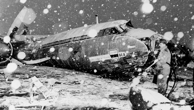 The wreckage of the 1958 Munich air crash
