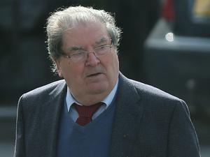 John Hume arrive's for the funeral of BBC broadcaster Gerry Anderson at St Eugene's Cathedral in Londonderry. PRESS ASSOCIATION Photo. Picture date: Sunday August 24, 2014. See PA story FUNERAL Anderson. Photo credit should read: Niall Carson/PA Wire