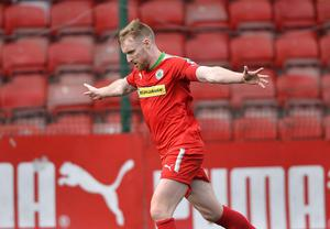 Cliftonville's Chris Curran celebrates a goal  during todays game at Solitude in Belfast. Photo Mark Marlow/Pacemaker Press