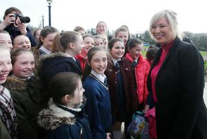 Northern Ireland parties return to Stormont after last eek's Assembly election.   Sinn Fein's Stormont leader Michelle O'Neill meets school children on the steps of Stormont's Parliament Buildings, east Belfast.   Photo by Jonathan Porter / Press Eye.