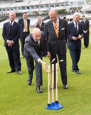 Britain's Prince Philip, Duke of Edinburgh and Honorary Life Member, Marylebone Cricket Club (MCC),(2R) watches a demonstration of self-retracting bails during his vist to open the new Warner Stand at Lord's Cricket Ground in London on May 3, 2017. / AFP PHOTO / POOL / Arthur EdwardsARTHUR EDWARDS/AFP/Getty Images