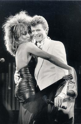 David Bowie and Tina Turner perform on stage at the NEC Birmingham. (Photo by Dave Hogan/Getty Images)...E