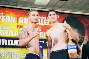 Champion Carl Frampton and Alejandro Gonzalez weigh in for the IBF Championship fight
