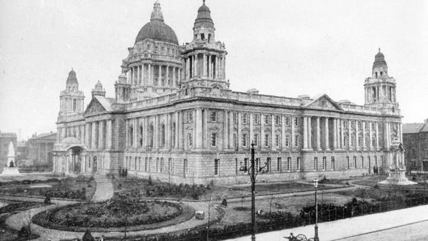 Belfast City Hall.  Donegall Square. In 1912 BELFAST TELEGRAPH ARCHIVE