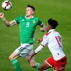 David Parkhouse in action for Northern Ireland U21s.