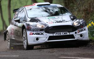 Fiesta time: Welsh star Elfyn Evans leads the Ulster Rally line