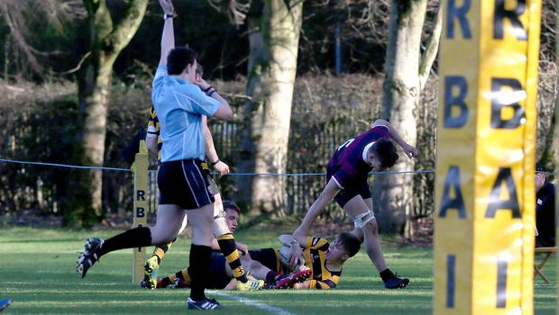 PACEMAKER PRESS BELFAST  8/2/2020  RBAI v BRA Schools Cup Rugby   Try for RBAIÕs Jack Dickson during todayÕs match at Osborne Park, Malone Road.  Photo Laura Davison/Pacemaker Press