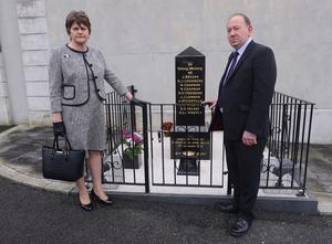 First Minister Arlene Foster and  William Irwin MLA joined politicians, clergy and families of the bereaved at a service of remembrance for the 40th anniversary of the Kingsmill massacre where 10 Protestant workmen were shot dead by the IRA. Picture By: Arthur Allison.