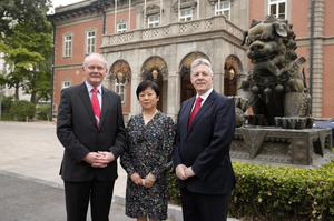 First Minister Peter Robinson and deputy First Minister Martin McGuinness with Madam Li, President of Chinese People's Association for Friendship and Foreign countries in Beijing