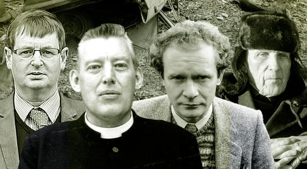 The scene from Bloody Friday while (from left) Wille Frazer, Ian Paisley, Martin McGuinness and former priest Patrick Ryan were all involved in terrorism, according to Spotlight On The Troubles