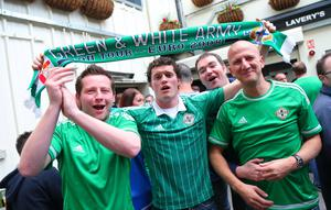 Picture - Kevin Scott / Presseye  Thursday 8th October 2015 - Belfast Northern Ireland - Northern Ireland vs Greece FANS  Pictured is Northern Ireland fans Ryan Weir, James Irwin and Peter Graham from Omagh at Laverys bar in Belfast ahead of the Euro Qualifier at Windsor Park.   Picture - Kevin Scott / Presseye