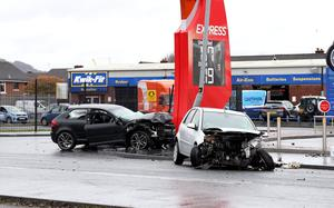 PACEMAKER PRESS BELFAST 21/2/2020 Scene today after a 2 car collision at Go Petrol Station, Brougham Street, Belfast. The road has been closed.  Photo Laura Davison/Pacemaker Press