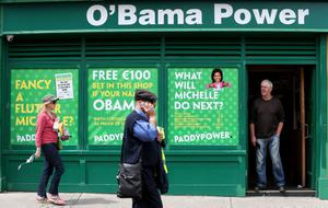 A Paddy Power Bookmaker renamed Obama Power as local residents Bono and his wife Ali  had lunch in  Finnegans Pub,Dalkey with US First Lady Michelle Obama and her two daughters Sasha and Malia. PRESS ASSOCIATION Photo. Picture date: Tuesday June 18, 2013. See PA story POLITICS G8 Michelle. Photo credit should read: Julien Behal/PA Wire