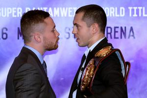 Carl Frampton (left) and Scott Quigg during a press conference at the Europa Hotel, Belfast.  Niall Carson/PA Wire