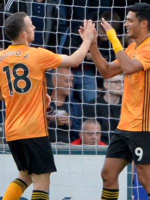 Raul Jimenez (inset) finds the net at Seaview
