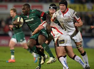 Miles Benjamin of Leicester Tigers (L) is tackled by Callum Black (R) of Ulster during this afternoons European Rugby Champions Cup Pool 3 match at the Kingspan stadium. (Photo by Charles McQuillan/Getty Images)