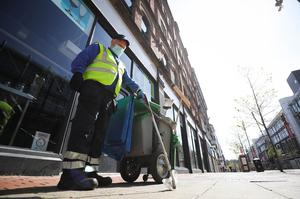 General view of a Belfast City Council street cleaner carrying out his duties in Royal Avenue. Photo by Kelvin Boyes  / Press Eye.