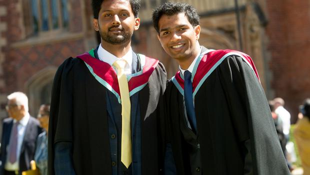 Friends Naman Jain and Mohammed Jafer Kounain both graduate today with a Master's in Advanced Mechanical Engineering from the School of Mechanical and Aerospace Engineering at Queen's University.