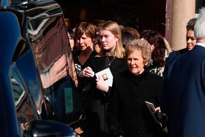 Frances Eastwood (right) leaves the church following the funeral of her husband, boxing promoter and bookmaker Barney Eastwood, at St Colmcille's Church, Holywood, Co Down. PA Photo. Picture date: Friday March 13, 2020. See PA story FUNERAL Eastwood. Photo credit should read: Liam McBurney/PA Wire