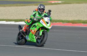 Family affair: Andrew Irwin claimed victory in the two Supersport races to make it a fantastic day for the Irwin clan